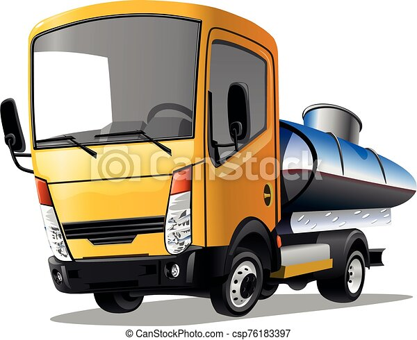 Cartoon truck isolated on white background. Vector illustration. - csp76183397