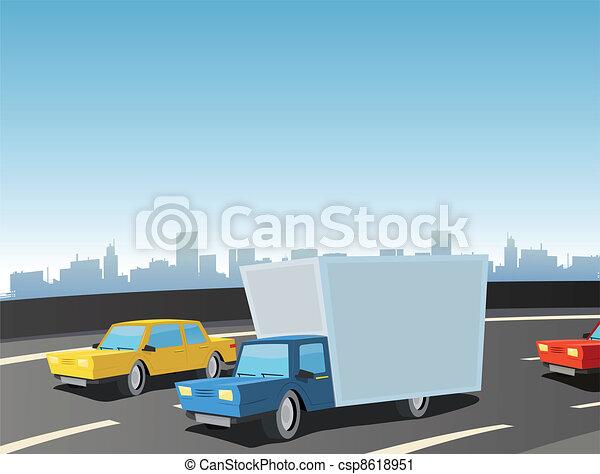 Cartoon Truck On Highway - csp8618951
