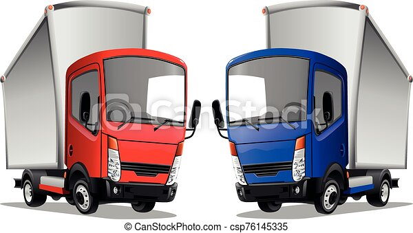 Cartoon trucks isolated on a white background. Vector illustration. - csp76145335