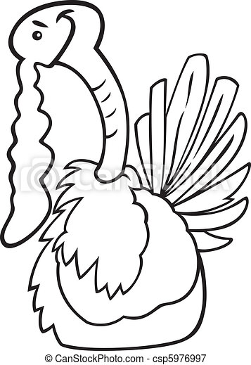 Cartoon turkey for coloring book.