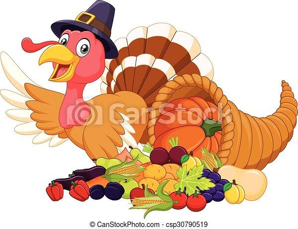 Cartoon turkey with horn of plenty - csp30790519