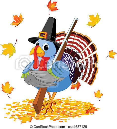 Cartoon Turkey with with a gun - csp4687129