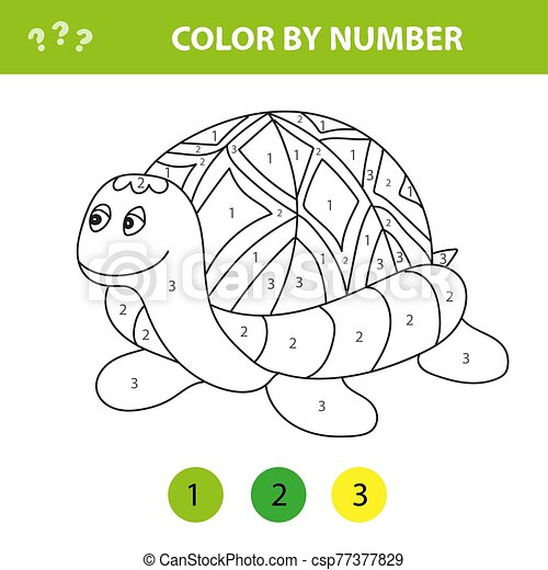 Cartoon Turtle. Color By Number Educational Game For Kids. Illustration For  Schoolchild And Preschool. CanStock