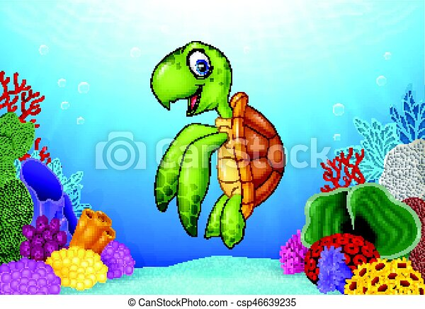 Cartoon turtle with beautiful underwater world - csp46639235