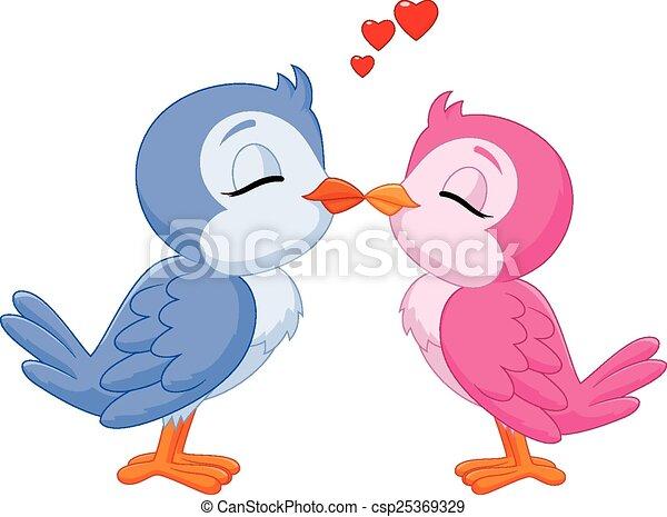 Cartoon two love birds kissing  - csp25369329