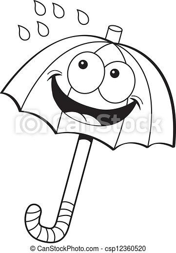 Cartoon umbrella. Black and white illustration of an umbrella.