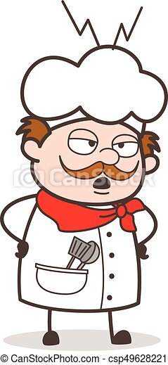 Cartoon Unhappy Chef Screaming on Workers - csp49628221
