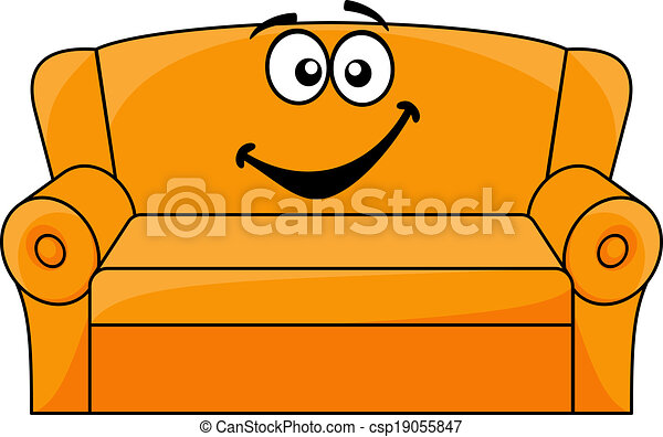 cartoon upholstered couch. cartoon upholstered orange couch, eps