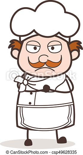 Cartoon Upset Chef Expression Vector Illustration - csp49628335