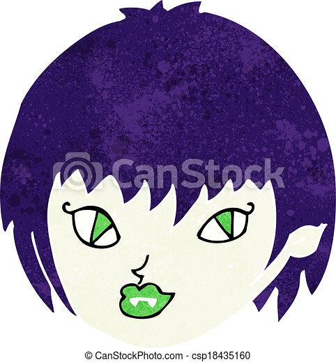 cartoon vampire girl face - csp18435160