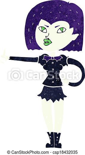 cartoon vampire girl giving thumbs up - csp18432035