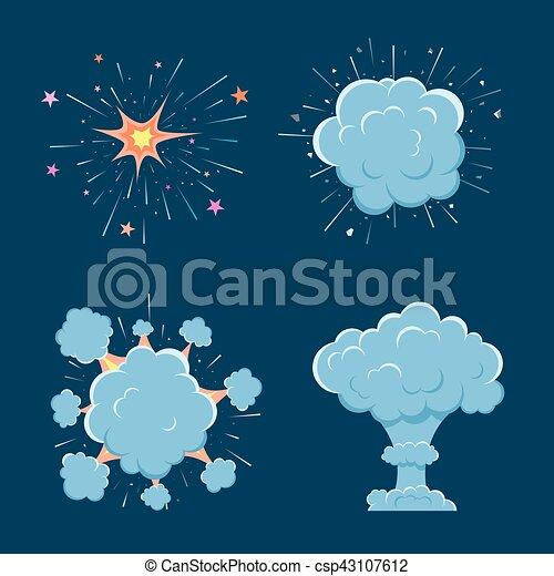 Cartoon vector bomb explosion with smoke