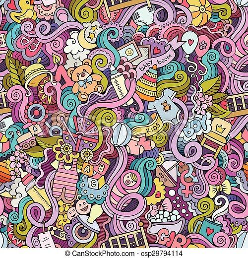 Cartoon vector doodle children seamless pattern - csp29794114