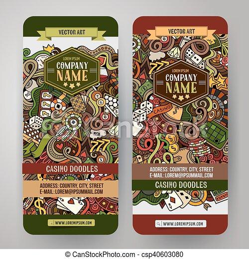 Cartoon vector doodles casino banners - csp40603080