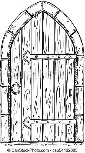 Cartoon Vector Drawing Of Wooden Medieval Door Closed Or