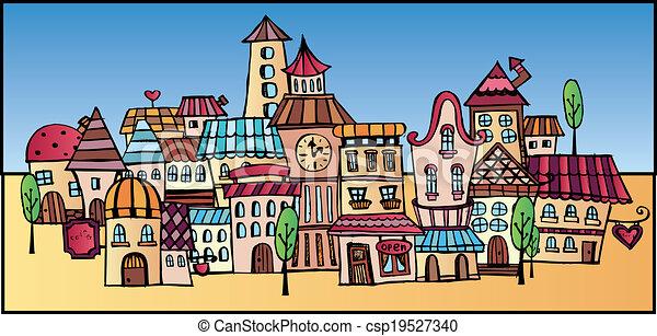 cartoon vector drawing town illustration of fantasy