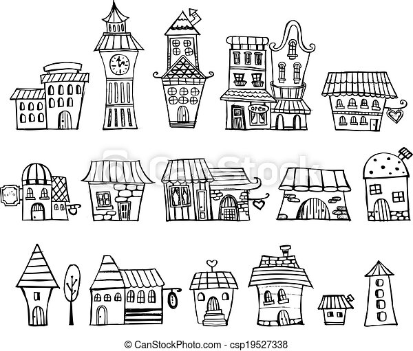 Cartoon vector fairy tale drawing houses - csp19527338