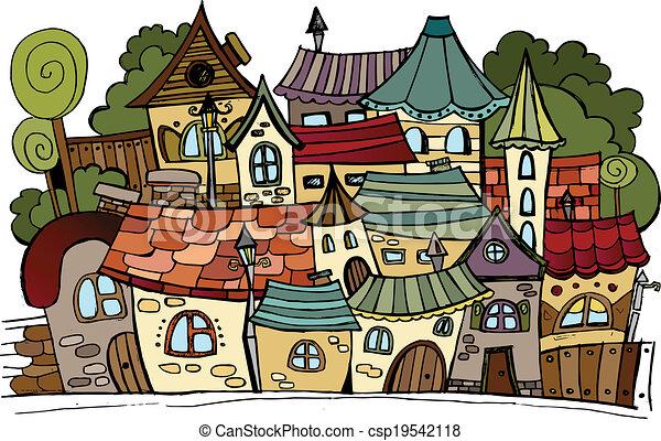 Cartoon vector fairy tale drawing town. - csp19542118
