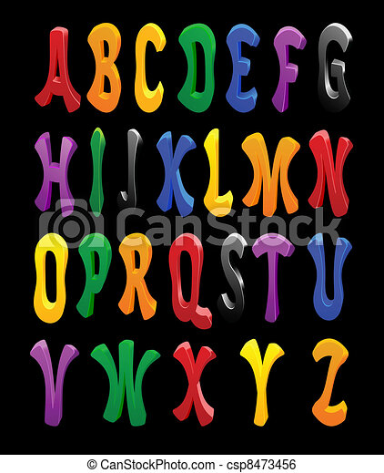 Cartoon vector font, full alphabet - csp8473456