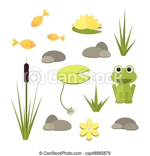 Cartoon vector garden pond elements with water, plants and animals. - csp48865879