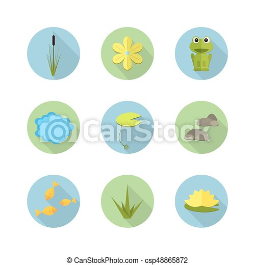 Cartoon vector garden pond icons with water, plants and animals. - csp48865872