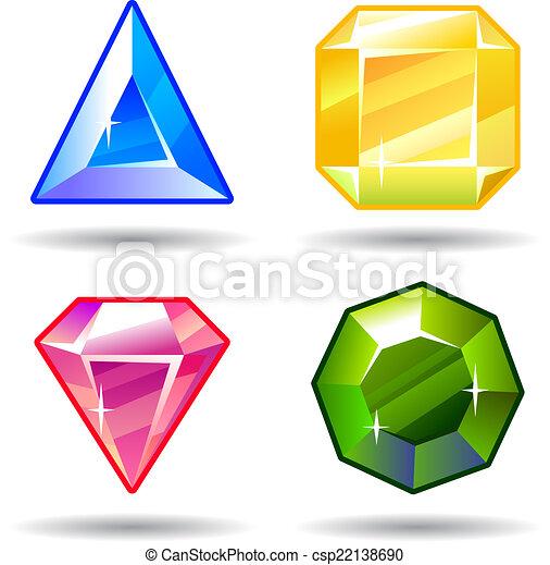 Cartoon vector gems and diamonds icons set - csp22138690