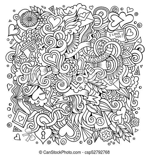 Cartoon vector hand-drawn Love Doodles. Sketchy design background - csp52792768