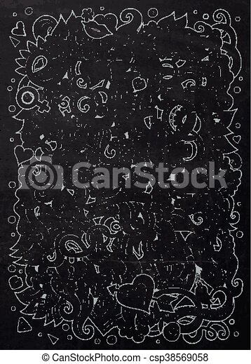 Cartoon vector hand-drawn Love Doodles. Chalkboard design - csp38569058