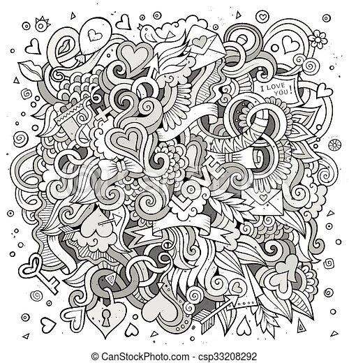 Cartoon vector hand-drawn Love Doodles. Sketchy design background - csp33208292