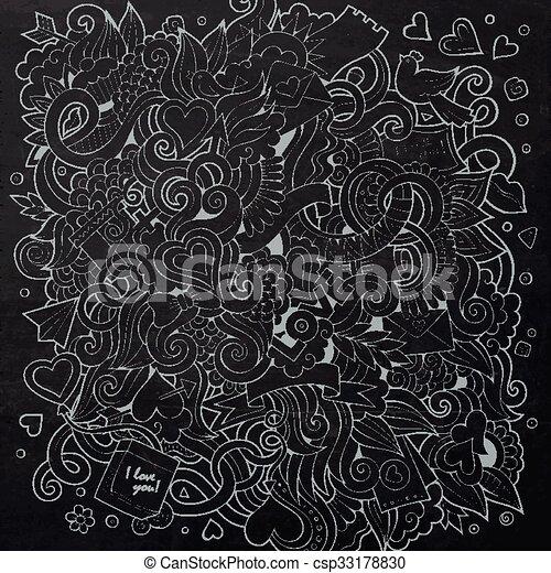 Cartoon vector hand-drawn Love Doodles. Chalkboard design  - csp33178830