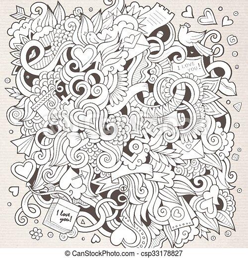 Cartoon vector hand-drawn Love Doodles. Sketchy design background - csp33178827