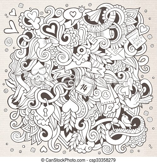 Cartoon vector hand-drawn Love Doodles. Sketchy design background - csp33358279