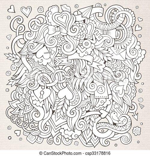 Cartoon vector hand-drawn Love Doodles. Sketchy design background - csp33178816