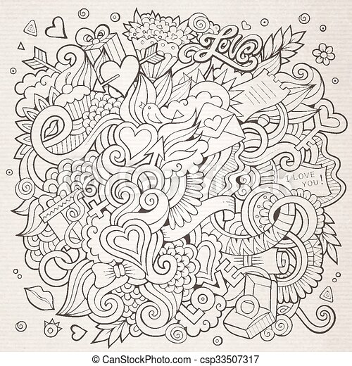Cartoon vector hand-drawn Love Doodles. Sketchy design background - csp33507317