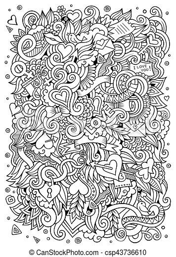 Cartoon vector hand-drawn Love Doodles. Sketchy design background - csp43736610