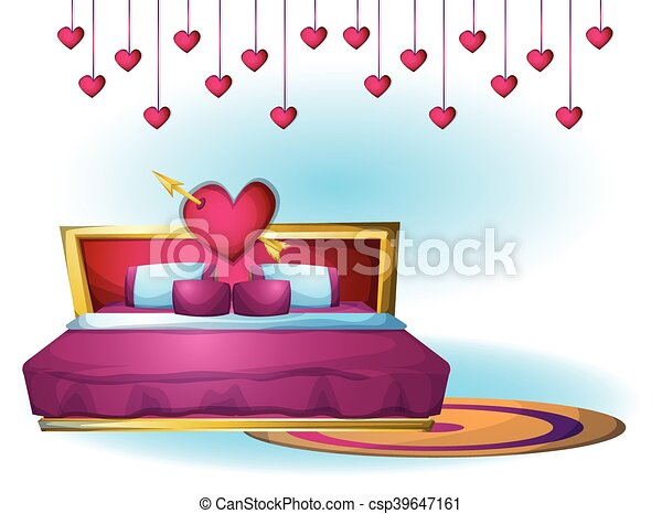 cartoon vector illustration interior Heart bed object - csp39647161