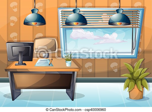 Cartoon vector illustration interior office room with... clip art ...