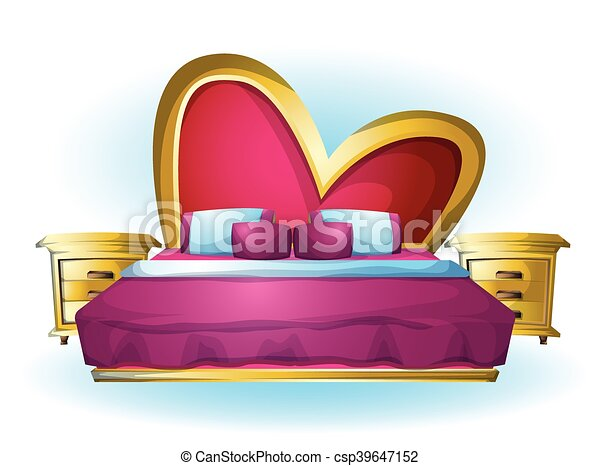 cartoon vector illustration interior Heart bed object - csp39647152