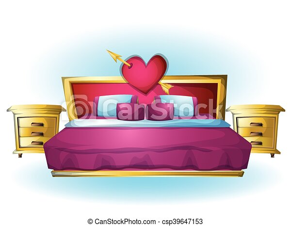 cartoon vector illustration interior Heart bed object - csp39647153