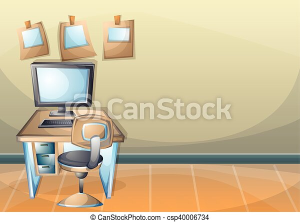 Cartoon vector illustration interior office room with... vectors ...