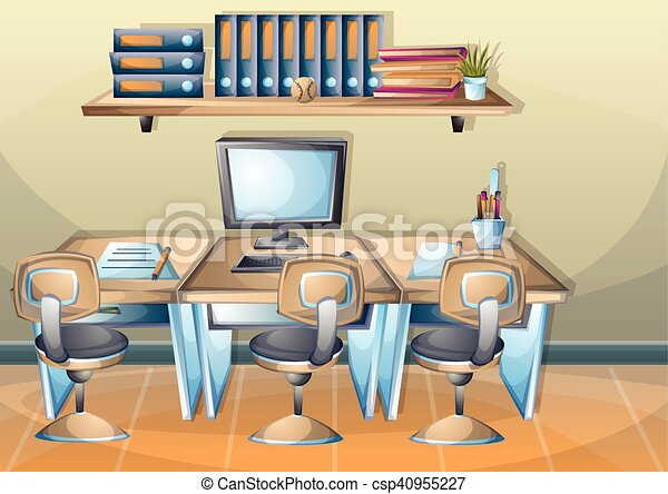 Cartoon vector illustration interior office room with... vector ...