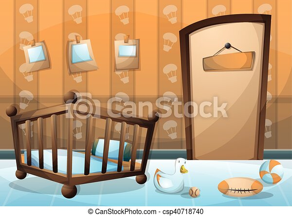cartoon vector illustration interior kid room with separated layers - csp40718740