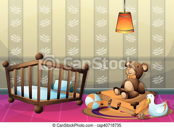 cartoon vector illustration interior kid room with separated layers - csp40718735