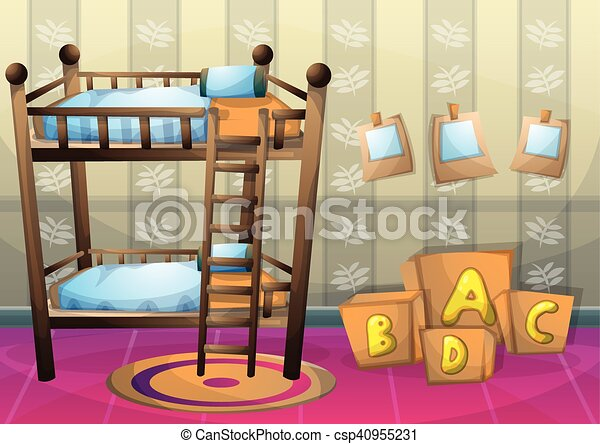 cartoon vector illustration interior kid room with separated layers - csp40955231
