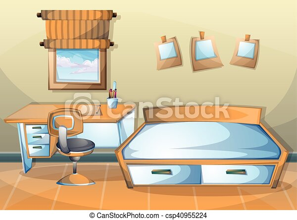 cartoon vector illustration interior kid room with separated layers - csp40955224