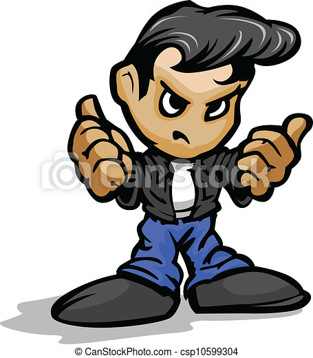 Cartoon Vector Illustration of a Cool 50?s Greaser Kid with Jeans and Leather Jacket in Thumb up Gesture - csp10599304