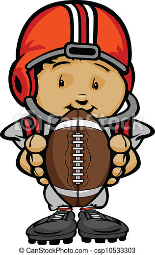 Cartoon Vector Illustration of a Cute Kid Football Player with Hands holding Ball - csp10533303