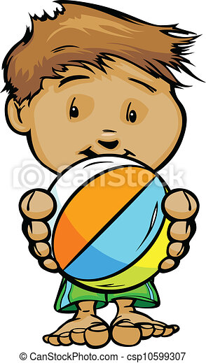 Cartoon Vector Illustration of a Cute Kid at Pool or Beach with Hands holding Beach Ball - csp10599307