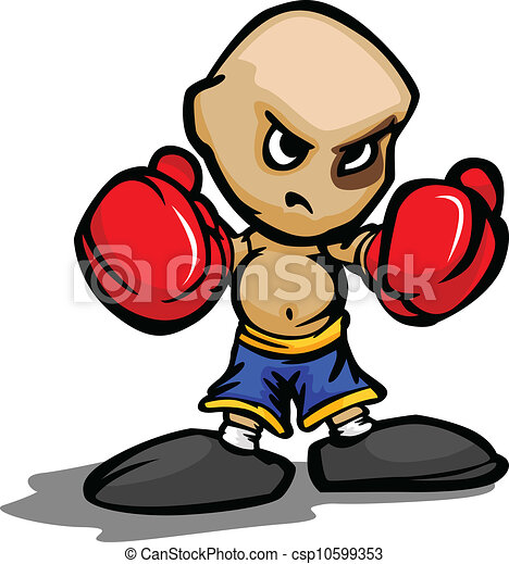 Cartoon Vector Illustration of a Tough Kid with Boxing Gloves and Black Eye - csp10599353