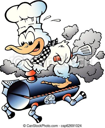 Cartoon Vector illustration of an Chef Duck riding a BBQ grill barrel - csp62691024
